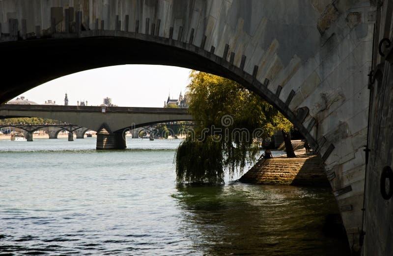 Under the bridge Paris royalty free stock photos