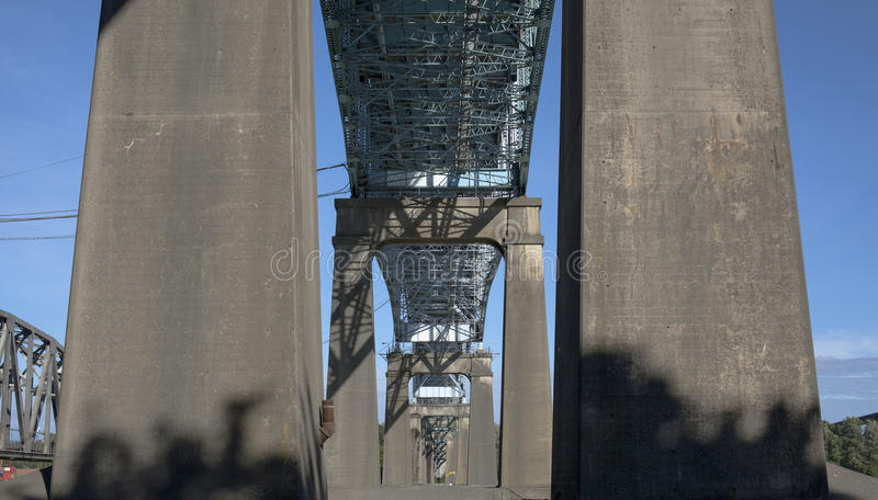 Bridge, Surrey to New Westminster, BC. Under the Patulo bridge, Surrey to New Westminster, BC. Canada royalty free stock photos