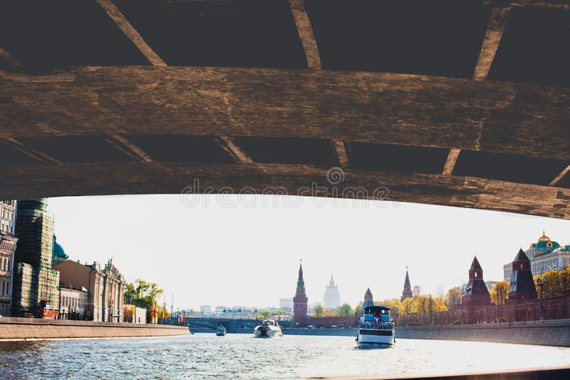From under the bridge to Moscow city skyline, Russia stock image