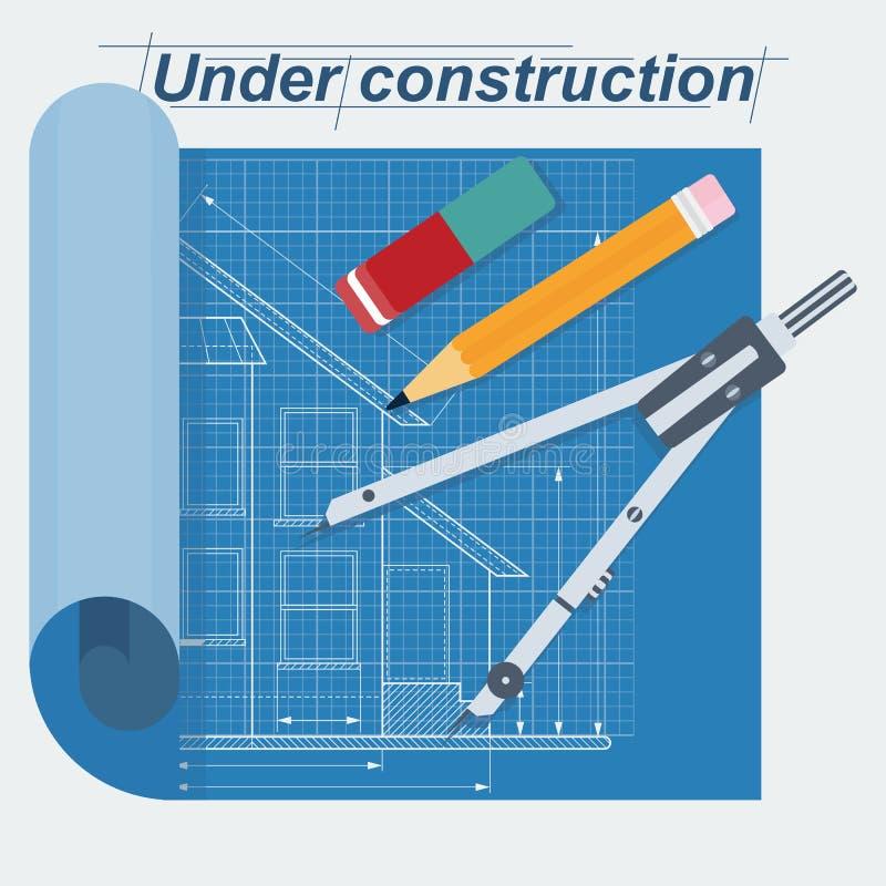 Under byggnadsritning vektor illustrationer