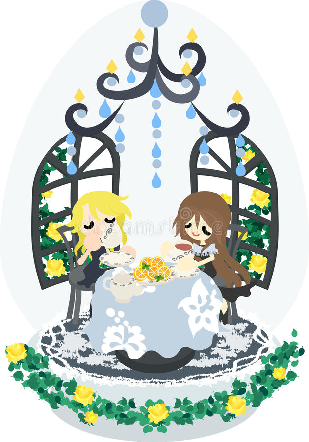 Under the Chandelier. Two women who enjoy slightly luxurious teatime in the room with the chandelier royalty free illustration
