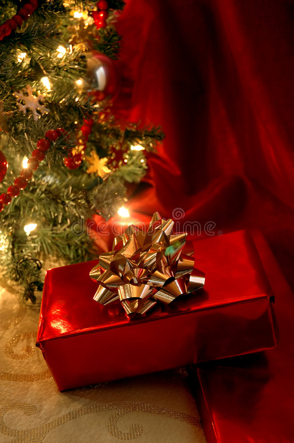 Under the Christmas Tree. Christmas present under the tree