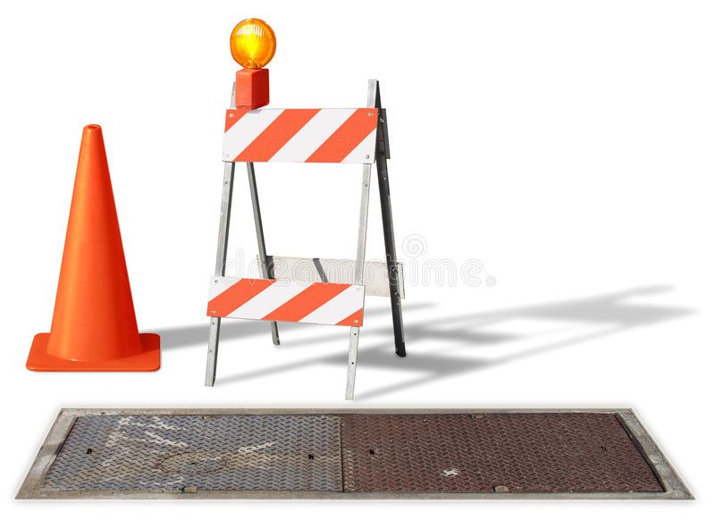 Under construction. Construction cone & barrier on white