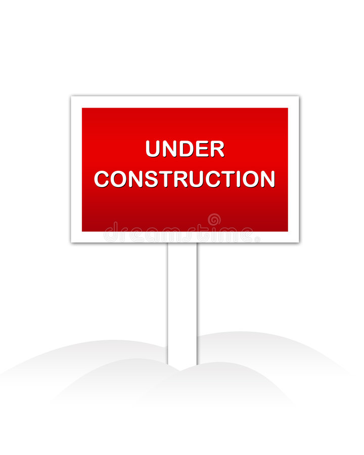 Under Construction. Web site Under Construction sign isolated illustration and web graphic royalty free illustration