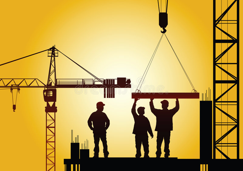 Under construction. Industry concept ,people at work royalty free illustration