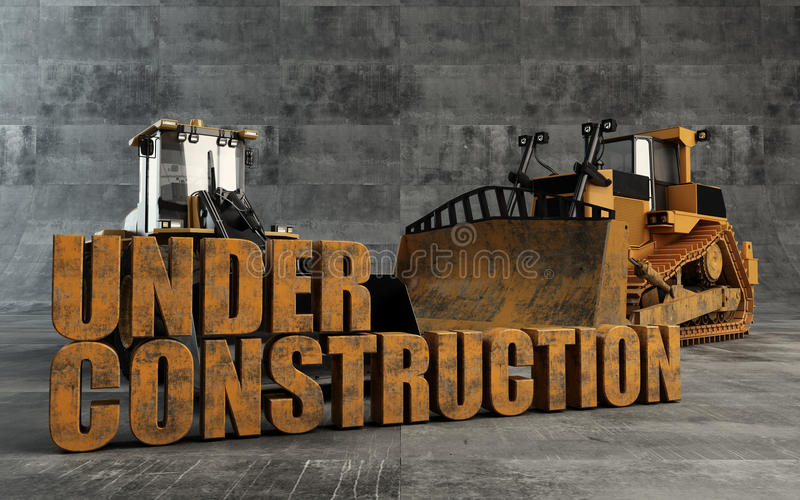 Under Construction background. With bulldozer and loader