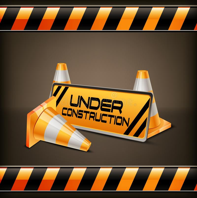 Under construction barrier with road cones. Illustration of Under construction barrier with road cones stock illustration