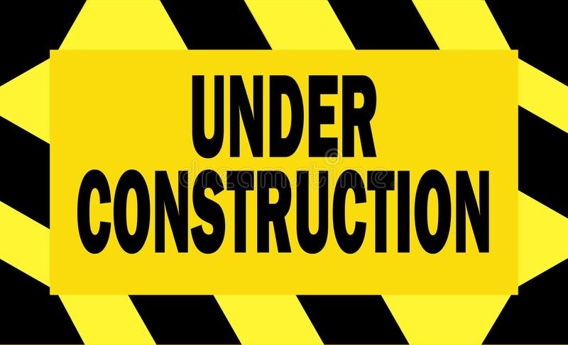 Under construction - black and yellow sign - vector vector illustration