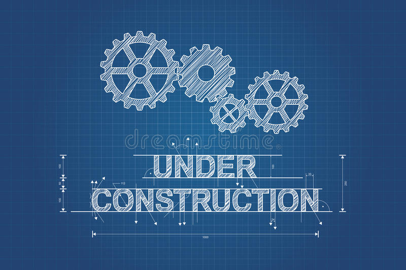 Under construction blueprint, technical drawing vector illustration