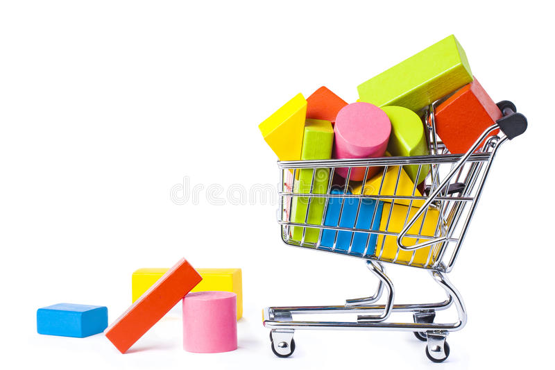 Under Construction Building Bricks Cart Isolated. Cart Trolly full of Building multicolor bricks toy isolated on white stock photos
