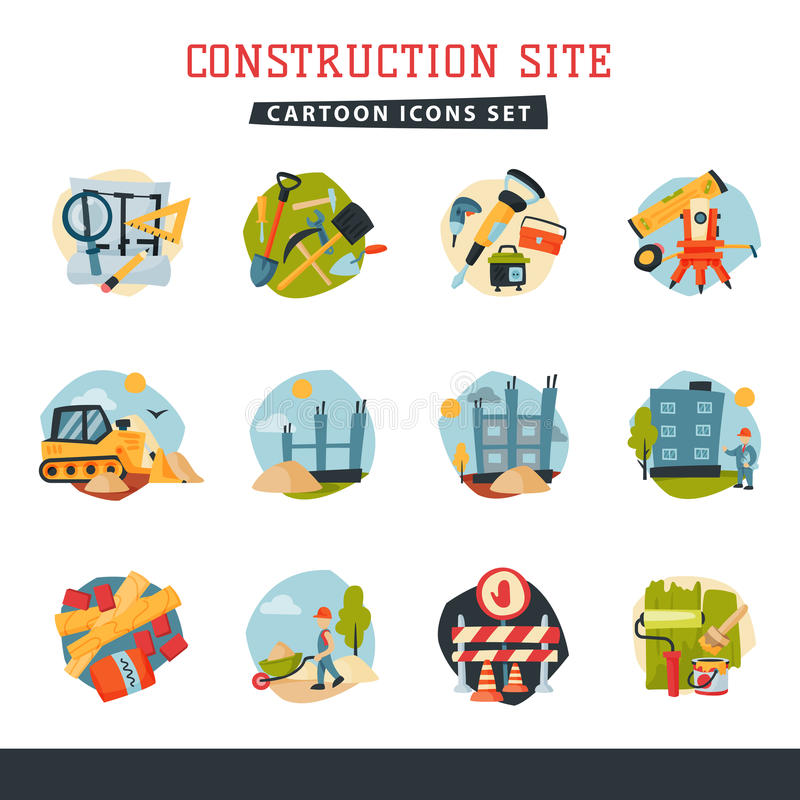 Under construction building developer website icons set collection vector illustration royalty free illustration