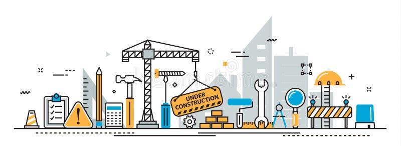 Under construction building process header banner for landing page. Flat line vector design concept of under construction, web page building process stock illustration