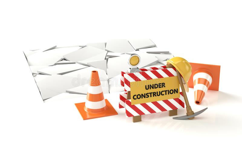 Under construction concept 3D image. Isolated 3D image on white background. 3D illustration vector illustration