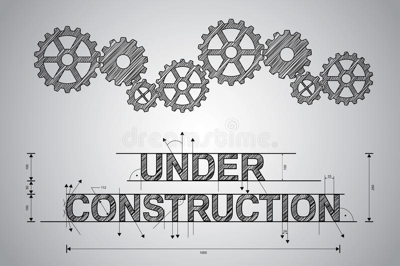 Under construction concept, sketched drawing royalty free illustration