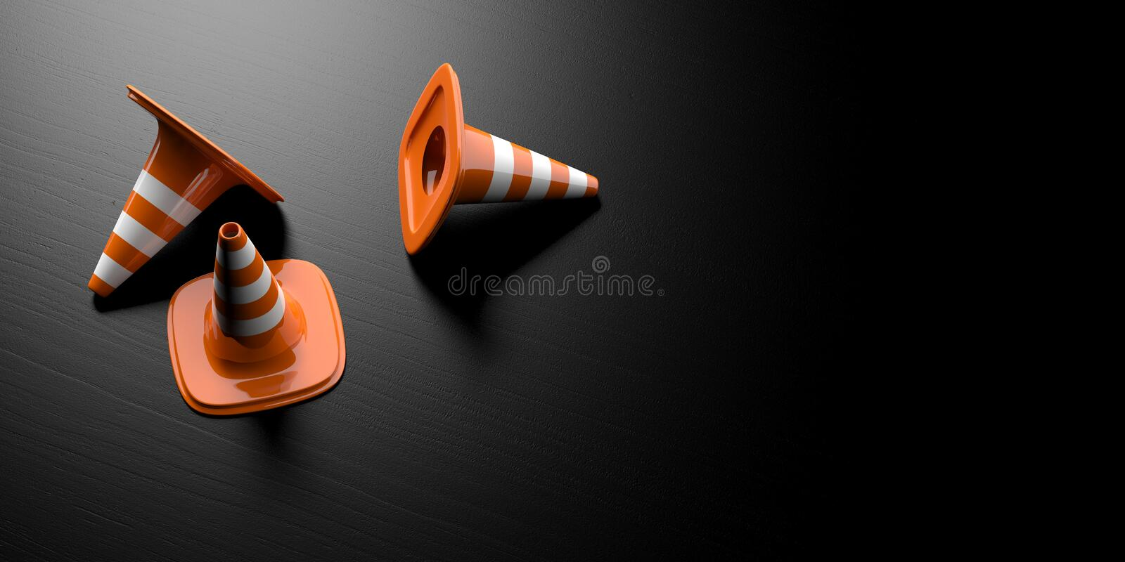 Under construction concept. Three traffic cones on black background, banner, copy space. 3d illustration vector illustration