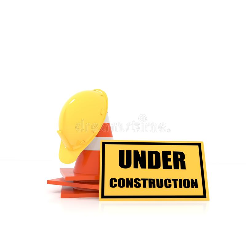 Under construction concept on white in 3D rendering vector illustration
