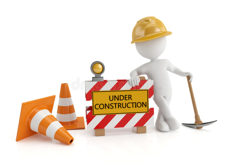 Under construction. 3d white people under construction, isolated white background, 3d image royalty free illustration