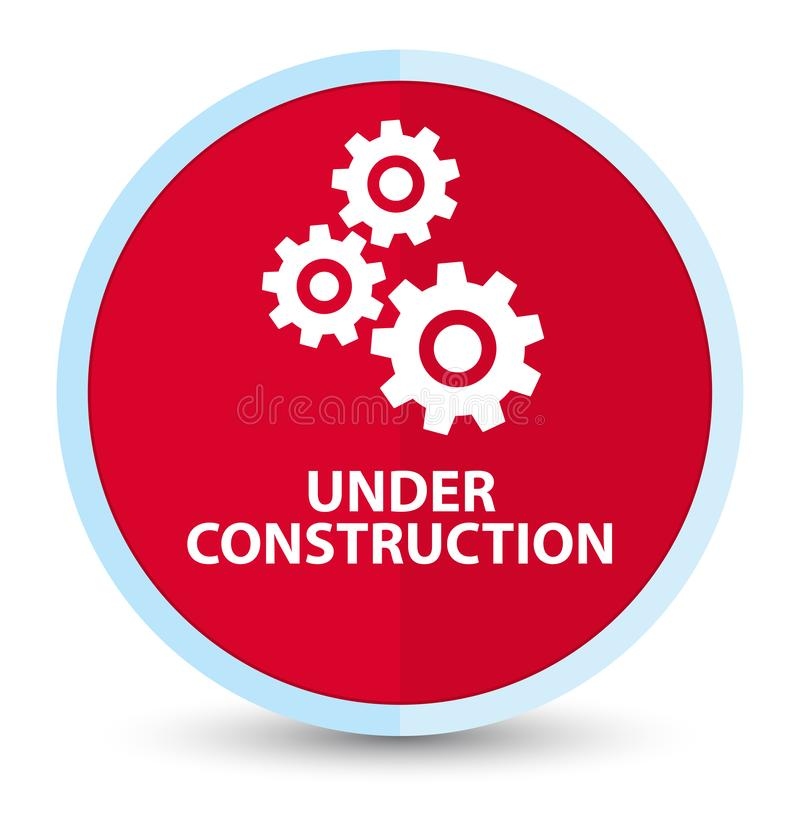 Under construction (gears icon) flat prime red round button stock illustration