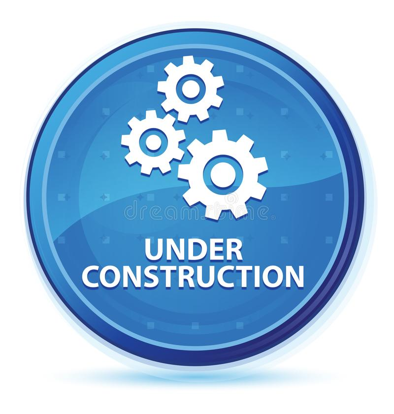 Under construction (gears icon) midnight blue prime round button royalty free illustration