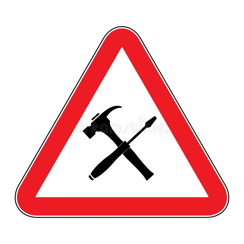 Under construction icon. Construction Road Sign - Men at Work European sign.Under construction sign as triangle shape with red border vector illustration