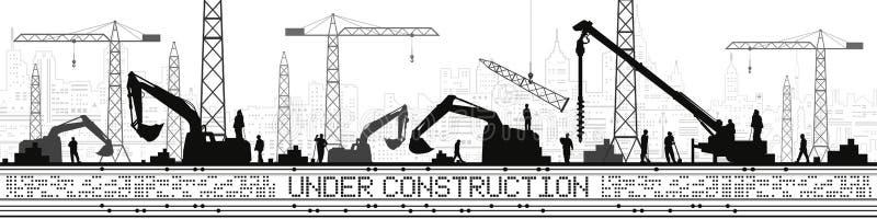 Under Construction illustration. Buildings panorama, industrial landscape, Constructional cranes and excavators, urban scene. Peop. Le working. Vector lines vector illustration