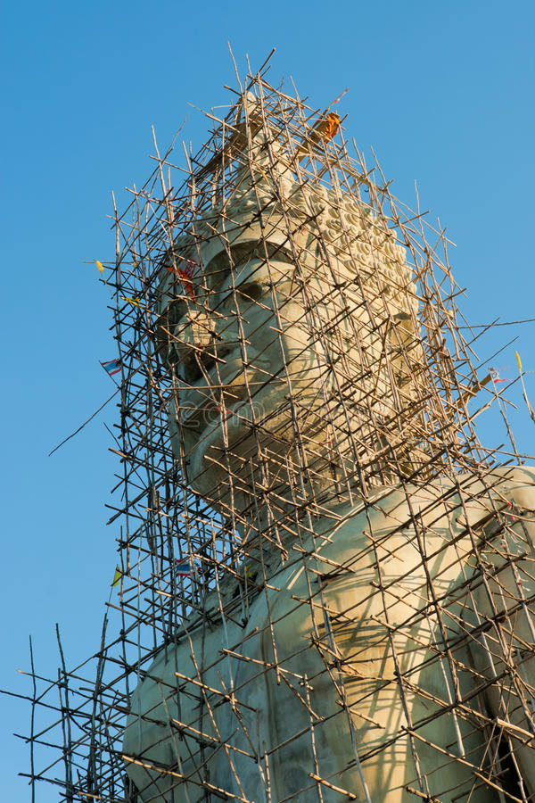 Under construction image of Buddha. At Lop Buri Thailand stock photos
