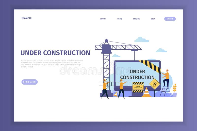 Under construction landing page for site. Under construction can be used for websites, landing pages, UI, mobile applications, posters, banner vector illustration