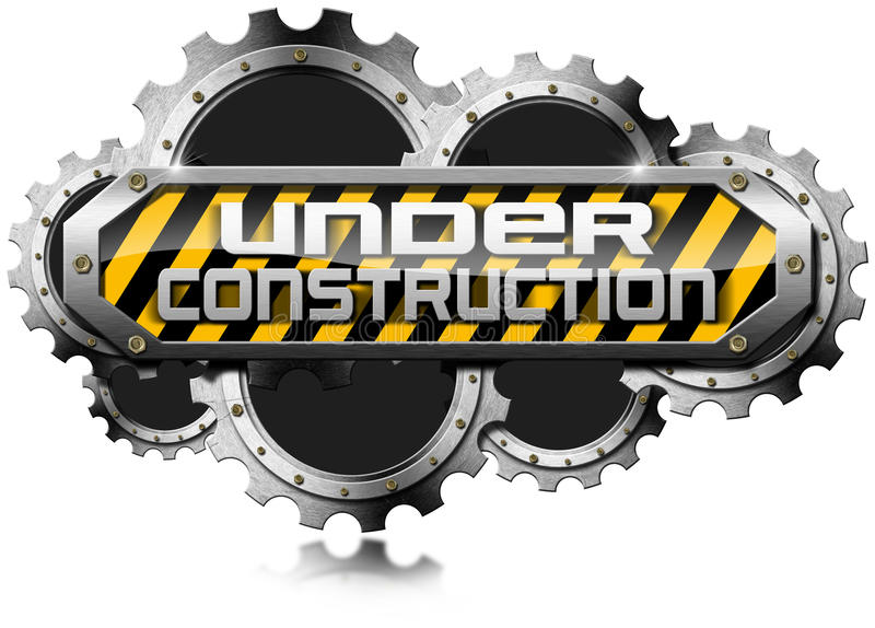 Under Construction - Metal Icon with Gears stock photos