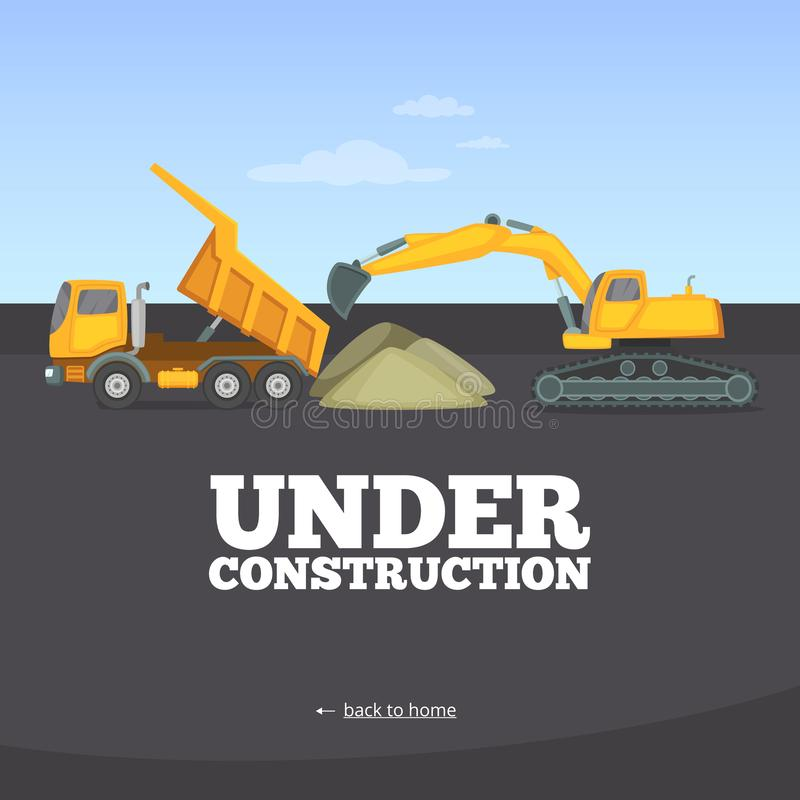 Under construction page. Building truck yellow vehicle heavy machinery vector web site warning page template. Construction of web page, technical work on vector illustration