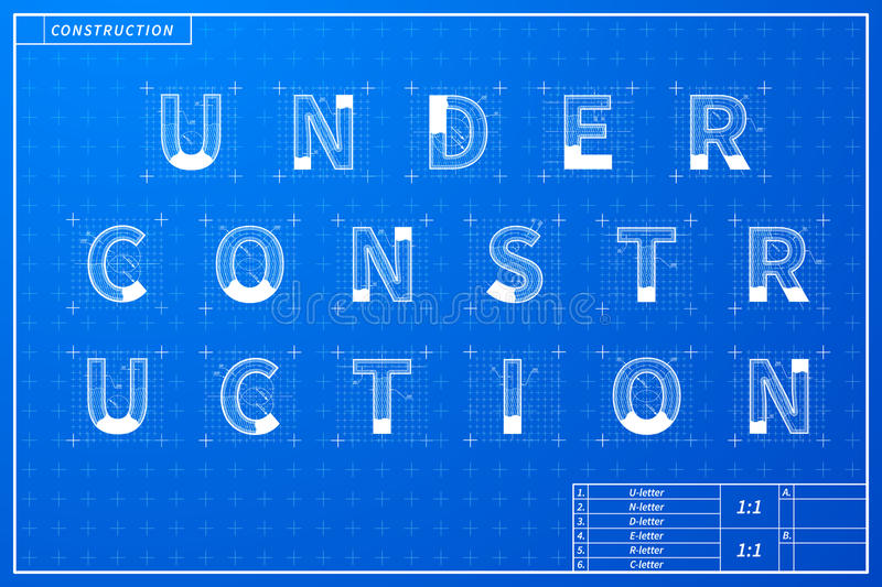 Under construction phrase scheme in blueprint style royalty free illustration