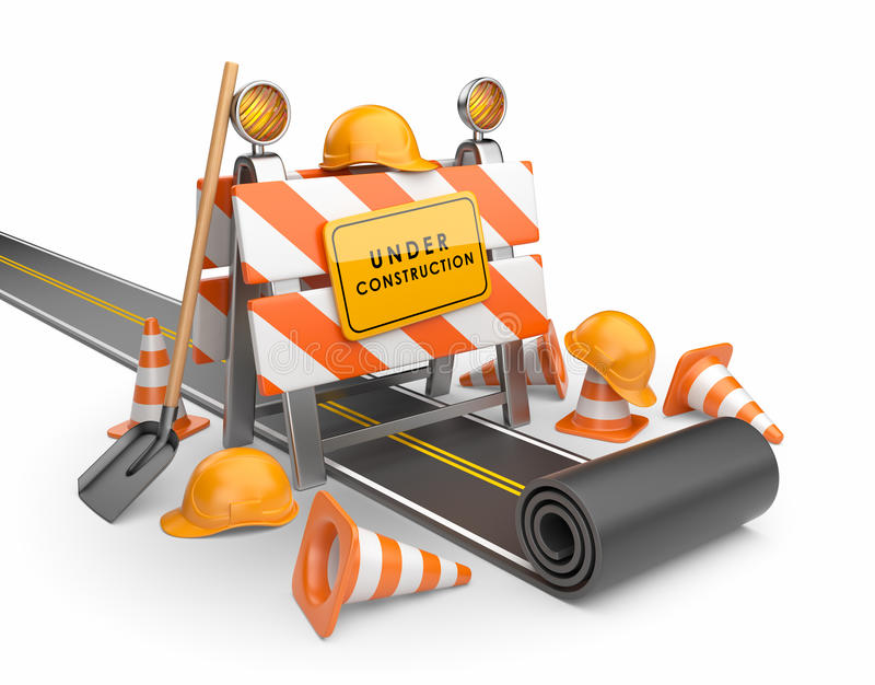 Under construction of road 3D. vector illustration