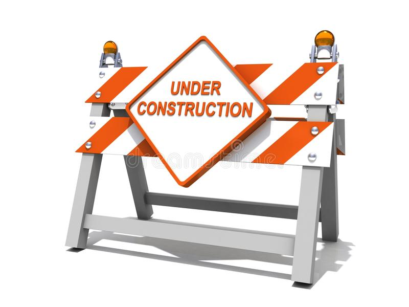 Under construction road sign barrier. 3d stock illustration