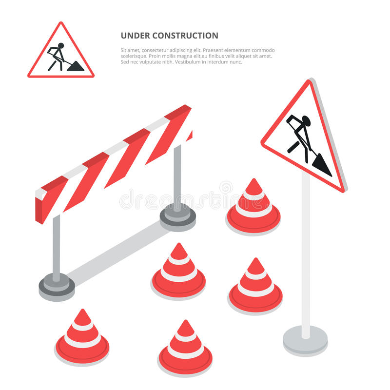 Under construction. Road sign, triangle cap, barri. Er. Flat 3d isometry isometric style web site app icon set concept vector illustration vector illustration