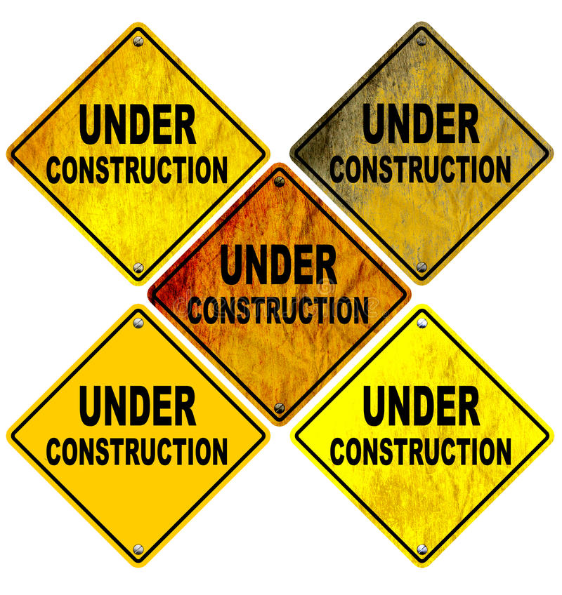 Under Construction Road Signs Isolated on White. An illustration of Under Construction Road Signs in different states. Isolated on White. Image isolated on white vector illustration