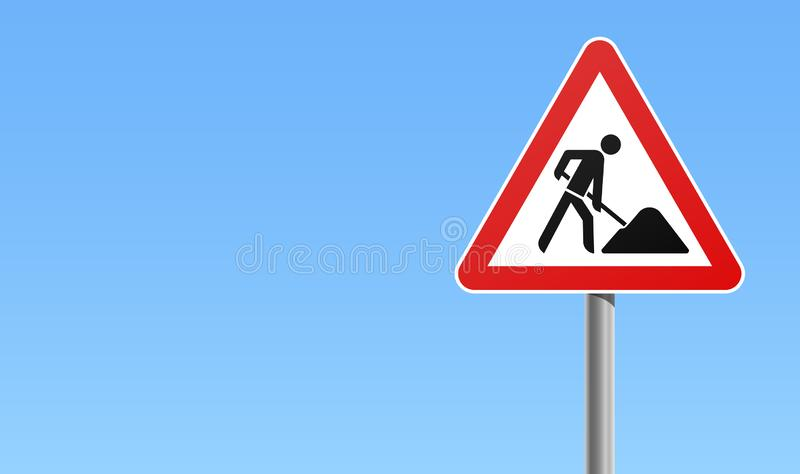 Under construction road traffic sign sky background. Under construction road traffic maintenance sign with red frame and sky background royalty free illustration