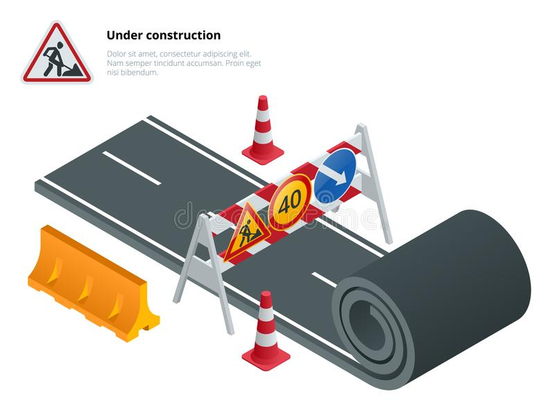 Under construction of road. Under construction sign. Maintenance and construction of pavement. Flat vector isometric. Illustration royalty free illustration
