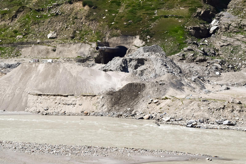 Under construction Rohtang Tunnel on Leh Manali highway. Rohtang Tunnel is a tunnel being built under the Rohtang Pass in the eastern Pir Panjal range of the royalty free stock photography