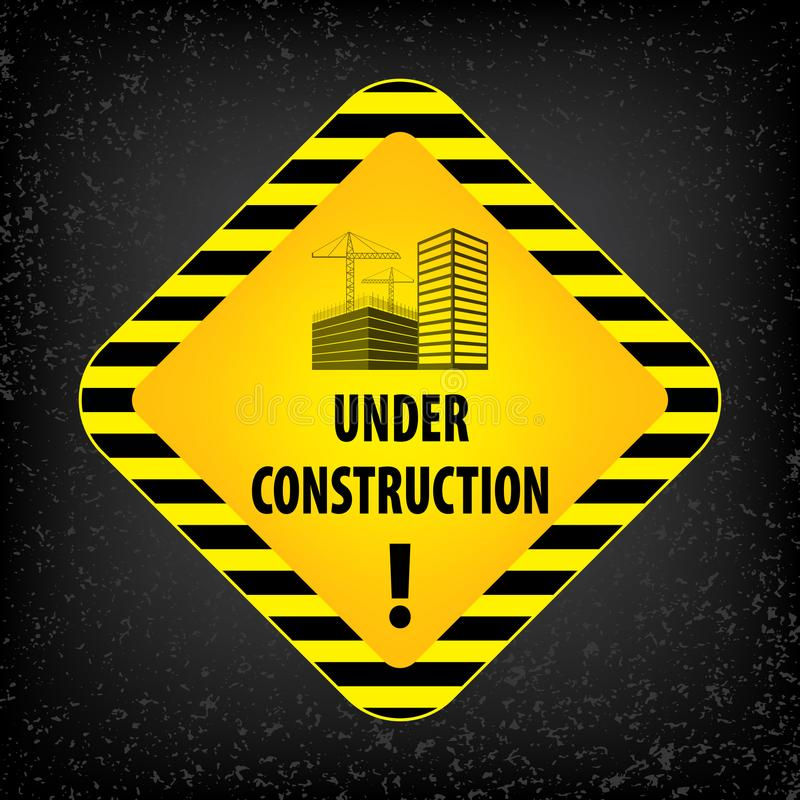 Under construction sign on black ground background. Vector illustration for website. Under construction rhombus with black and yel stock illustration