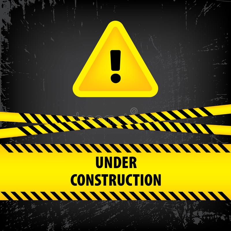 Under construction sign on black ground background. Vector illustration for website. Under construction triangle with black and ye. Llow striped borders vector stock illustration