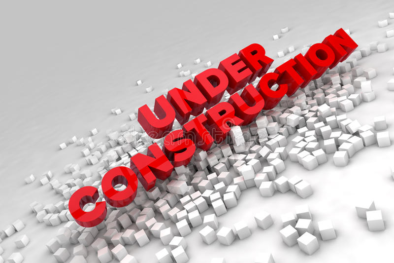 Under construction sign with blocks of cubes royalty free illustration