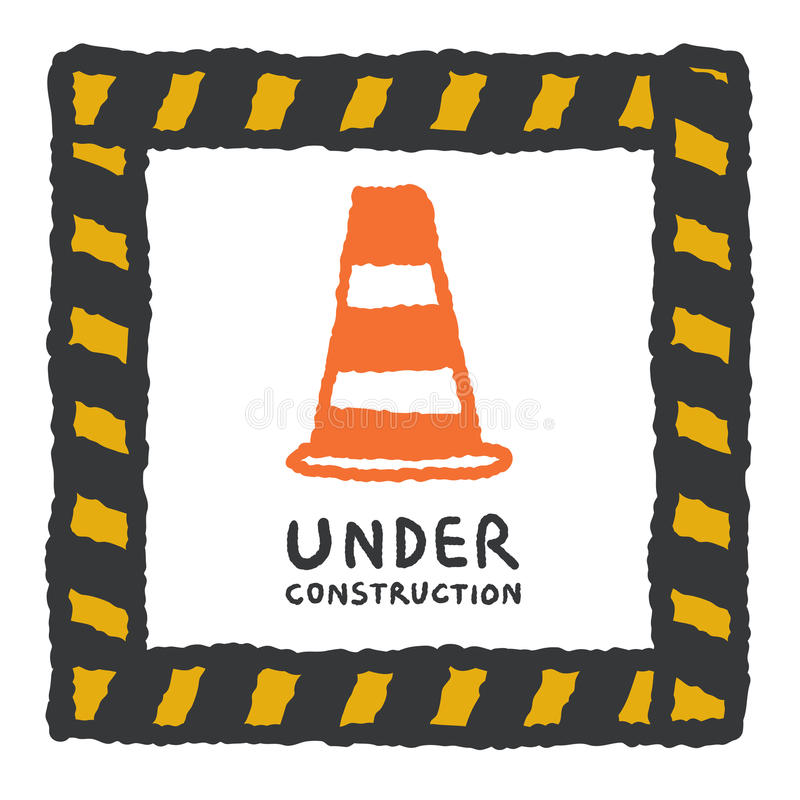Under construction sign in cartoon style vector illustration