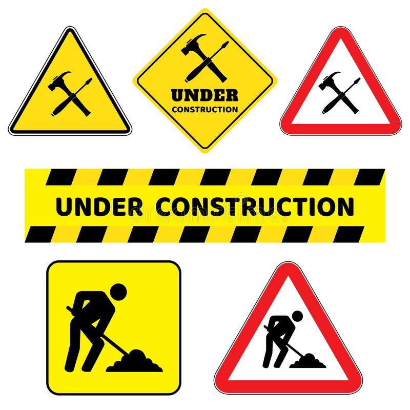 Under construction sign collection.Six construction sign drawing by illustration. Under construction sign as triangle shape with red border and yellow royalty free illustration