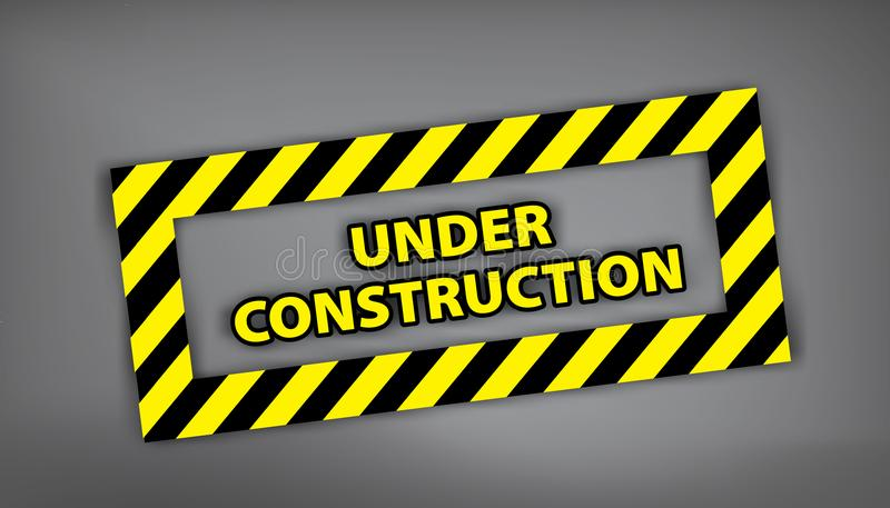 Under construction sign on gray background. Vector illustration for website. Under construction stamp with black and yellow stripe vector illustration
