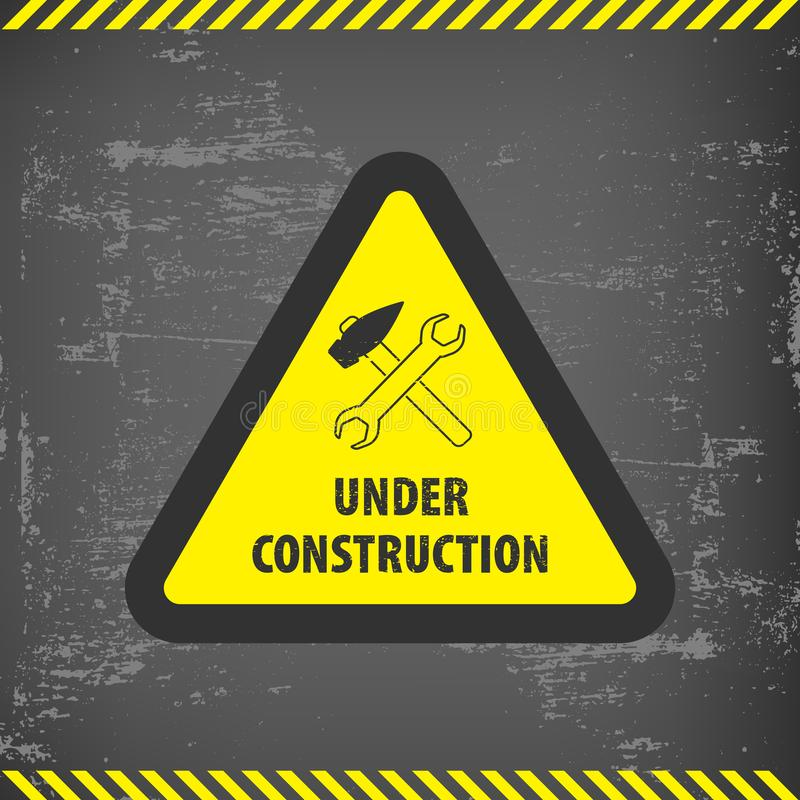 Under construction sign on gray ground background. Vector illustration for website. Under construction triangle with black and yel. Low striped borders vector royalty free illustration
