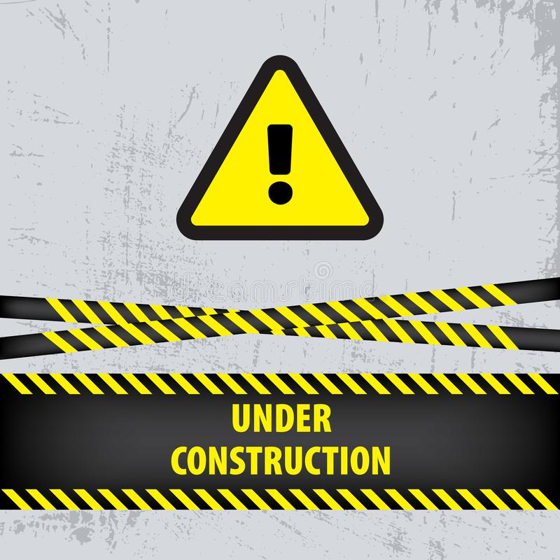 Under construction sign on gray ground background. Vector illustration for website. Under construction triangle with black and yel. Low striped borders vector vector illustration