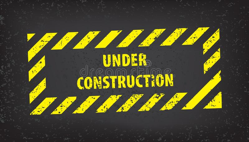 Under construction sign on gray ground texture. Vector illustration for website. Under construction stamp with black and yellow st stock illustration