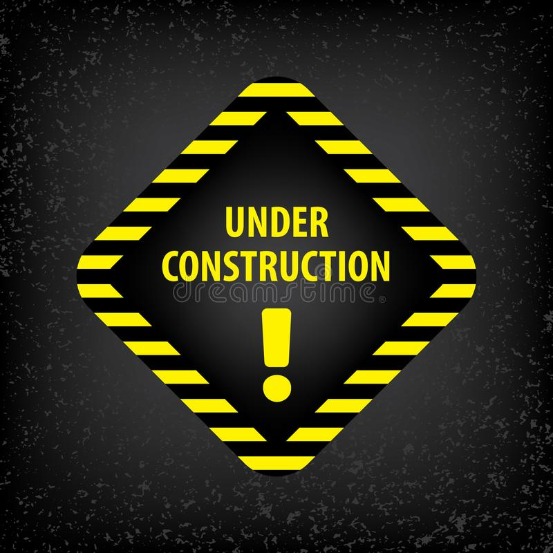 Under construction sign on gray ground texture. Vector illustration for website. Under construction rhombus with black and yellow stock illustration