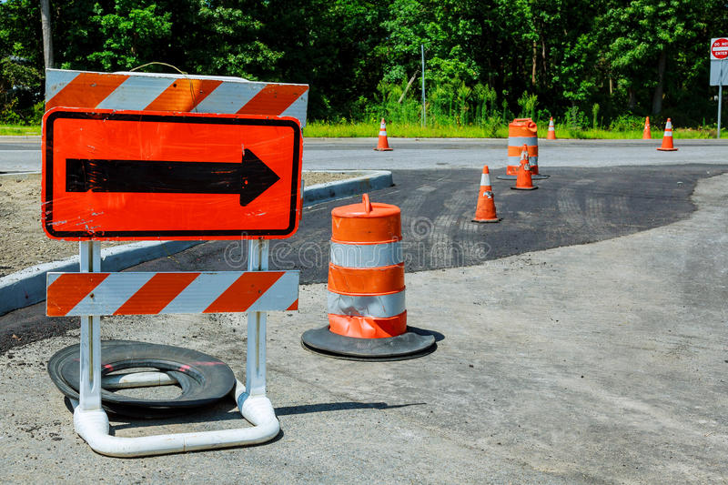 Under construction sign. Road repair sign of detour royalty free stock image