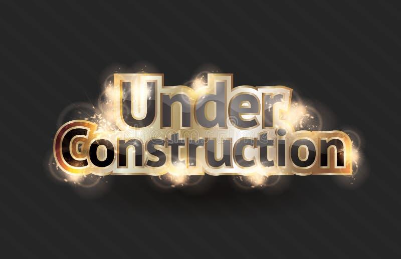 Under Construction sign. Shining gold text effect for a vector under construction sign royalty free illustration
