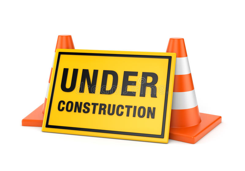 Under construction sign and two road cones. Yellow Under construction sign and two orange road cones isolated on white background royalty free illustration